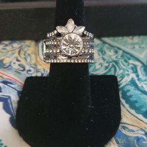 Black and gemstone ring